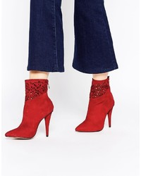 Forever Unique Spritz Heeled Suede Ankle Boots