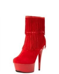 The Highest Heel Amber 401 Sexy 6 Heel Micro Suede Close Toe Ankle Bootie Red Boots