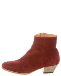 Woman By Common Projects Suede Round Toe Ankle Boots