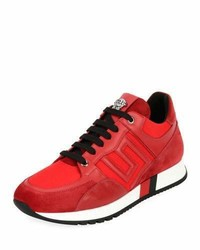 Red Suede Athletic Shoes
