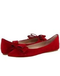 Red Suede Ballerina Shoes