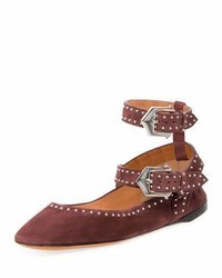 Givenchy Elegant Soft Dual Wrap Ballerina Flat Oxblood Red