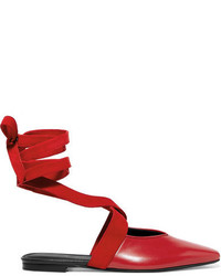 Jw anderson leather and suede ballet flats red medium 5172618