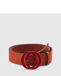Gucci Red Suede Belt With Interlocking G Buckle