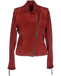 Red Suede Biker Jacket