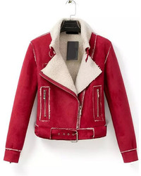 Lapel Zipper Suede Red Jacket