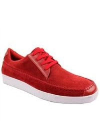 Bravo Agate Sneakers Low Top Red Suede Shoes