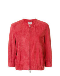 Red Suede Bomber Jacket