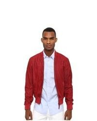 e9b77cc95b Red Suede Bomber Jacket Grey Dress Shirt Grey Jeans White Low Top Sneakers  Charcoal ...