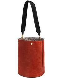 Marni Medium Suede Bucket Bag W Elaphe Detail