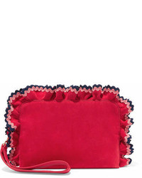 Attache rickrack trimmed suede clutch red medium 7012604