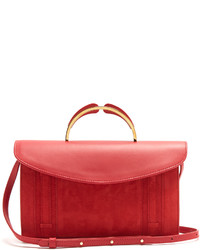 Mansur Gavriel Satchel Leather And Suede Top Handle Clutch