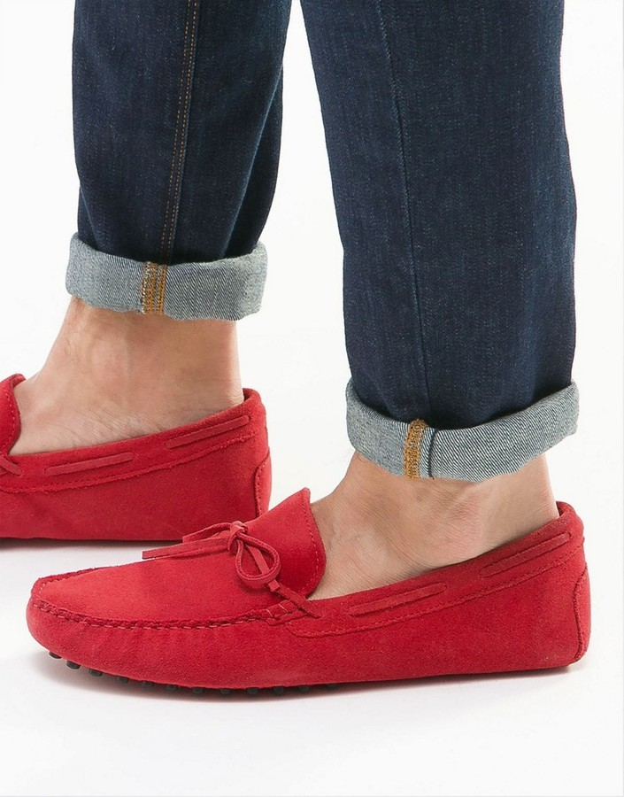 ... Asos Driving Shoes In Bright Red Suede ...