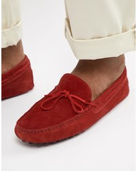 ASOS DESIGN Driving Shoes In Red Suede With Tie Front