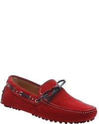Car Shoe Red Suede Tie Detail Driving Loafers