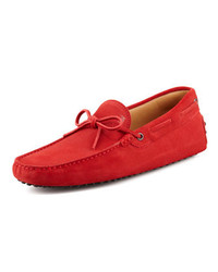 Tod's Suede Tie Driver Red