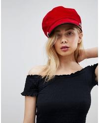 Glamorous Red Suede Look Bakerboy Hat
