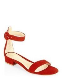 Gianvito Rossi Portofino Suede Ankle Strap Flat Sandals