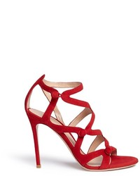 Gianvito Rossi Rouleau Loop Button Caged Suede Sandals