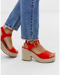 Head over Heels by Dune Head Over Heels Kace Red Jute Cross Heeled Espadrille Wedge Sandals