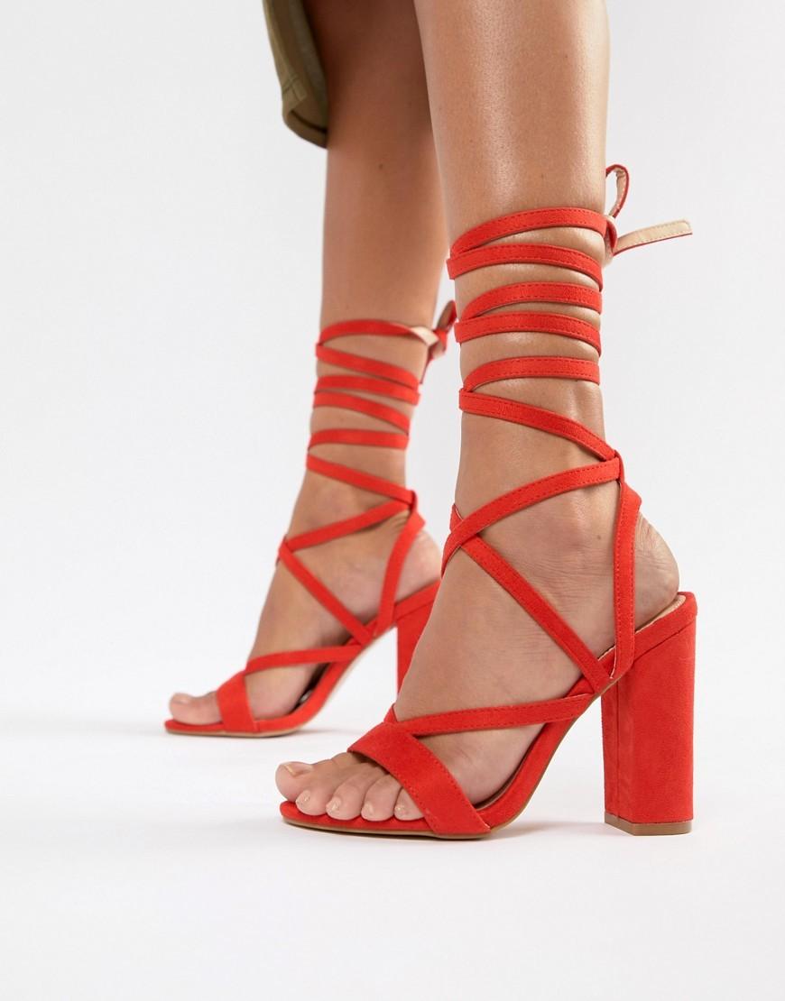 Public Desire Julia Red Block Heel Tie