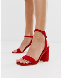 RAID Wink Bright Red Square Toe Block Heeled Sandals