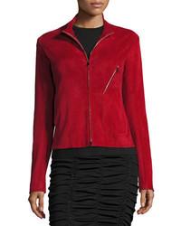 The Row Tripton Stretch Suede Zip Front Jacket Crimson