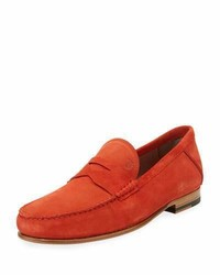 Gommini suede penny loafer red medium 3648263
