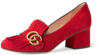 56b8a62a2 Gucci Marmont Fringe Suede 55mm Loafer Red, $750 | Neiman Marcus ...