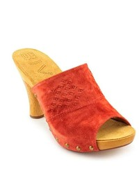 BIVIEL 2971 Red Open Toe Suede Mules Shoes Eu 37