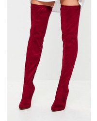 Missguided Red Pointed Over The Knee Faux Suede Boots