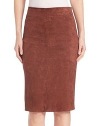Brunello Cucinelli Stretch Suede Pencil Skirt