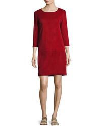 The Row Rina Stretch Suede 34 Sleeve Shift Dress Crimson