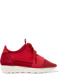 Balenciaga Race Runner Leather Mesh Neoprene And Suede Sneakers Claret