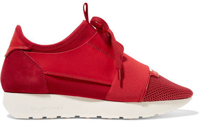 3258398a1422 ... Balenciaga Race Runner Leather Mesh Neoprene And Suede Sneakers Claret  ...