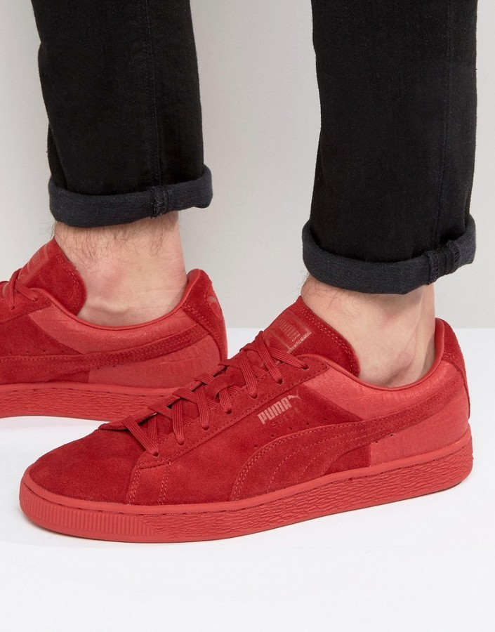 7ef12f127c3c16 ... Puma Suede Classic Casual Emboss Sneakers Red 36137203 ...