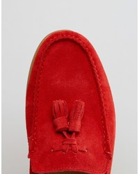 29bb475fefa ... Asos Tassel Loafers In Red Suede With Natural Sole ...