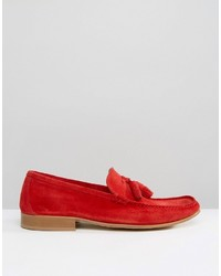 dbe9815fd31 ... Asos Tassel Loafers In Red Suede With Natural Sole