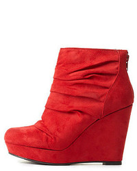Charlotte Russe Mark Maddux Ruched Platform Wedge Booties