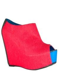 Fahrenheit Mica 01 Red Wedge Ankle Booties
