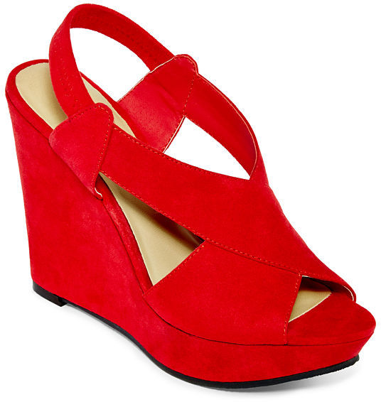 2ce90fda2d7b8 ... Red Suede Wedge Sandals jcpenney Ana Ana Mindy Wedge Sandals ...