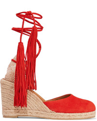 Dolce Vita Jamila Red Peep Toe Suede Wedge Sandals Shoes