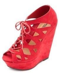 Charlotte Russe Cut Out Lace Up Peep Toe Platform Wedges