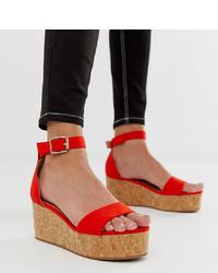 New Look Flatform Sandal In Bright Orange