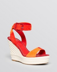 Sergio Rossi Open Toe Platform Wedge Sandals Eleanor