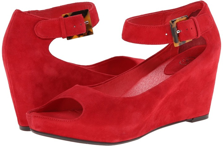 3555bdf04fd ... Red Suede Wedge Sandals Johnston   Murphy Tricia Ankle Strap Wedge Shoes  ...