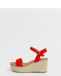 New Look Wide Fit Wedges In Red
