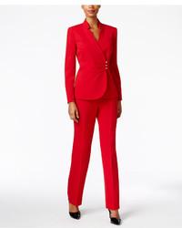 Tahari asl petite crepe crossover jacket pantsuit medium 1159513