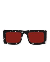 Marcelo Burlon County of Milan Black And Red Logo Templo Sunglasses