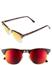 Clubmaster 51mm sunglasses shiny red havana red mirror medium 610914